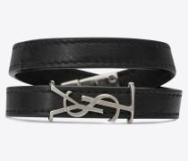 OPYUM doppeltes Armband aus Leder und silberfarbenem Metall