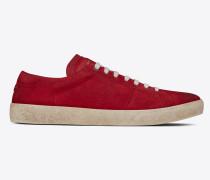court sl/06 sneakers aus velours und rotem leder