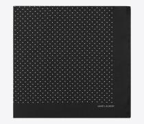 Taschentuch aus schwarzer Seide mit elfenbeinfarbenem Tupfenprint