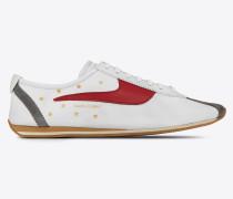 Jay Sneaker aus cremeweißem und rotem Leder