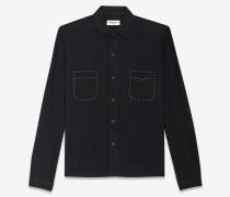 Gerade geschnittenes Hemd aus schwarzem Stonewash-Denim mit Nietendekor