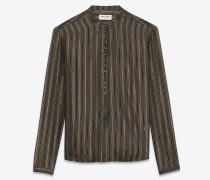 tunika mit bandkragen aus schwarzer seide mit goldfarbenen streifen