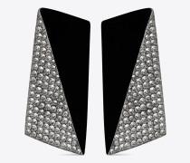 facettierte smoking ohrringe aus schwarzem kunstharz und weißen kristallen