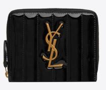VICKY kompaktes Portemonnaie aus Lackleder mit Steppnähten