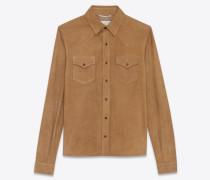 westernhemd aus tabakbraunem veloursleder
