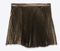 Mini-Faltenrock aus schwarzer und goldener Seide