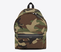 city backpack in khaki cotton gabardine camouflage and black leather