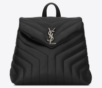 kleiner loulou rucksack aus schwarzem y-matelassé-leder
