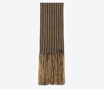 Schal mit Fransen aus schwarzem und goldfarbenem Streifenstrick