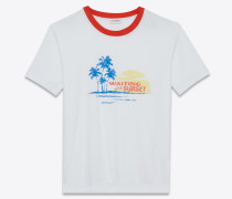 t-shirt aus rotem und weißem jersey mit waiting for sunset-print