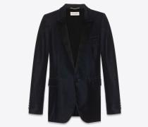 Tuxedo Jacke aus marineblauem Samt und Satin