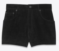 Shorts aus schwarzem Velours