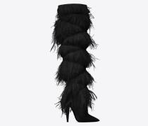 yeti 110 stiefel aus schwarzem samt mit straußenfedern
