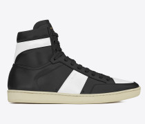 r signature court sl/10h high top sneaker aus schwarzem und optisch weißem leder