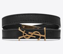 OPYUM doppeltes Wickelarmband aus schwarzem Leder und bronzefarbenem Metall
