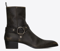 WYATT harness boots in stone-washed leather