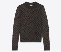 Pullover aus schwarzem und goldfarbenem Lurex-Strick mit Zebrastreifen