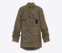 army-parka mit oversize-ärmeln aus gewachstem, khakigrünem baumwollcanvas