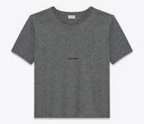 saint laurent karo-t-shirt aus grau meliertem baumwolljersey