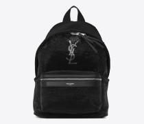 mini city-rucksack aus schwarzem und silberfarbenen pailletten und leder