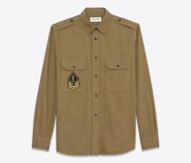 oversize-hemd aus khakifarbenem twill mit ysl-army-patch