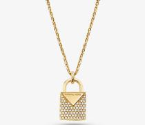 Halskette aus Sterlingsilber mit Edelmetallbeschichtung und Pave-Schloss