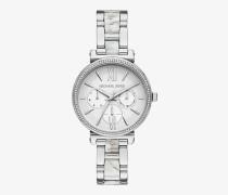 Armbanduhr Mini Sofie im Silberton mit Pave-Fassung und Azetatgliedern