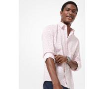 Slim-Fit-Hemd aus Stretch-Baumwolle mit Blumen- und Punktmuster
