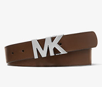 MK Ledergürtel Mit Logoschnalle - Mocha/black - Michael Kors
