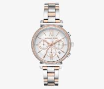 Zweifarbige Armbanduhr Sofie mit Pave-Fassung
