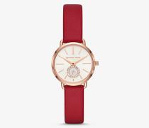 Armbanduhr Petite Portia im Rose-Goldton mit Lederarmband