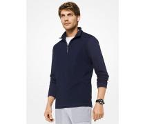 Pullover aus Stretch-Baumwolle mit Viertelreißverschluss