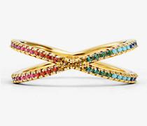 Nesting-Ring aus Sterlingsilber mit 14-Karätiger Goldbeschichtung und Pave-Fassung in Regenbogenfarben