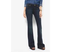 Stretch-Jeans mit Schlag und Patchwork-Design