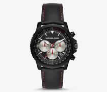 Armbanduhr Theroux in Schwarz mit Lederarmband