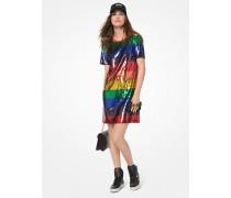 T-Shirt-Kleid Aus Baumwoll-Jersey Mit Pailletten In Regenbogenfarben