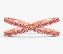 Nesting-Ring aus Sterlingsilber mit 14-Karätiger Rose-Goldbeschichtung und Pave-Fassung