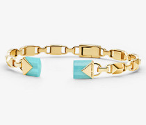 Offener Armreif mit Klappverschluss aus Sterlingsilber mit 14-Karätiger Goldbeschichtung