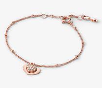 Armband aus Sterlingsilber mit Edelmetallbeschichtung und Pave-Herzanhänger