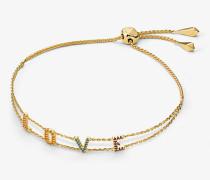 Armband aus Sterlingsilber mit 14-Karätiger Goldbeschichtung Love-Schriftzug mit Pave-Fassung und Schiebeknoten
