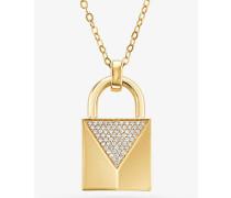 Halskette aus Sterlingsilber mit 14-Karätiger Goldbeschichtung und Pave-Schlossanhänger