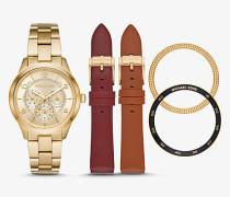 Armbanduhr Runway im Goldton mit Lederarmbändern im Set