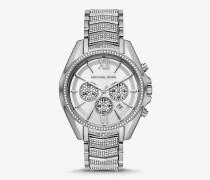 Übergroße Armbanduhr Whitney im Silberton mit Pave-Fassung