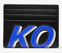 MK Kartenetui Greyson Tall Aus Leder Mit Kors-Schriftzug - Blck/pop Blu - Michael Kors