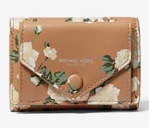 Kleine Brieftasche aus Kalbsleder mit Blumenmuster und Tasche