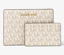 Schmale Brieftasche Jet Set Medium mit Logo