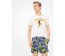 Slim-Fit-Shorts aus Baumwoll-Walkstoff mit Sonnenblumenmuster