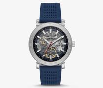 Übergroße Armbanduhr Greer im Silberton mit Perforiertem Silikonarmband
