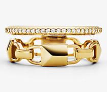 Halo-Ring Mercer Link aus Sterlingsilber mit Edelmetallbeschichtung und Pave-Fassung