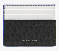 MK Kartenetui Greyson Tall Mit Logo - Blck/pop Blu - Michael Kors